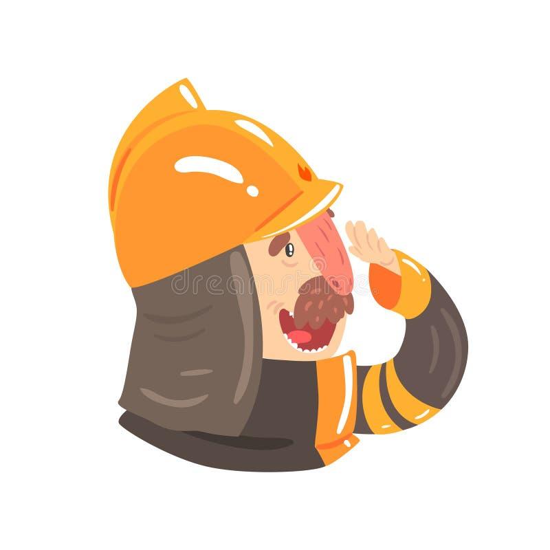 Pompiere nel casco di sicurezza ed in vestito protettivo, illustrazione di vettore del personaggio dei cartoni animati di vista l royalty illustrazione gratis