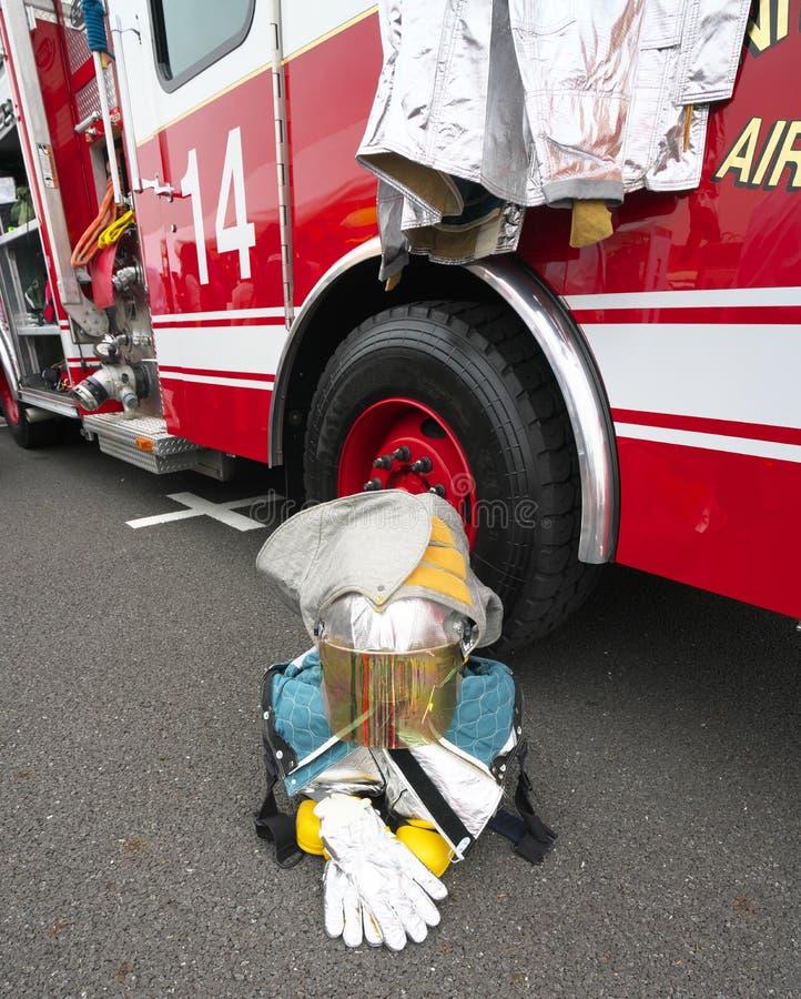 Pompiere su un freno fotografia stock libera da diritti