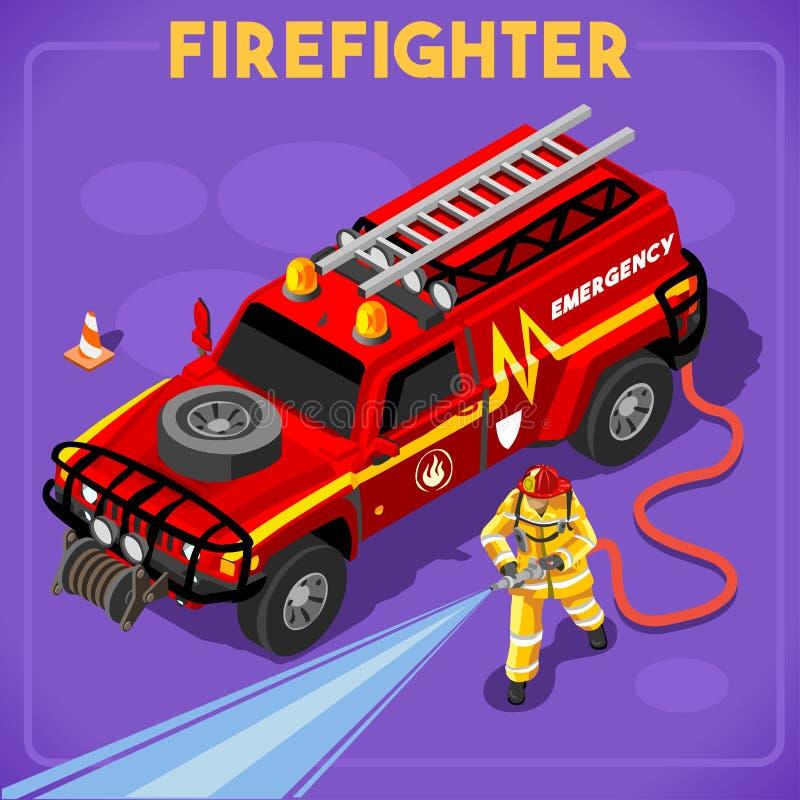 Pompieri 02 persone isometriche illustrazione di stock