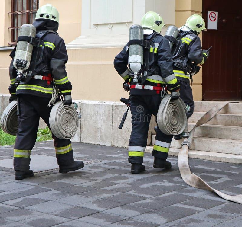 Pompieri sul lavoro con il carro armato di ossigeno e del tubo flessibile fotografie stock libere da diritti