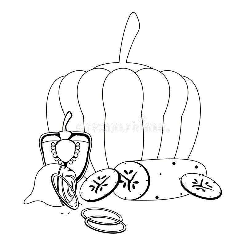 Pompoen en komkommer met ui met peper in zwart-wit royalty-vrije illustratie