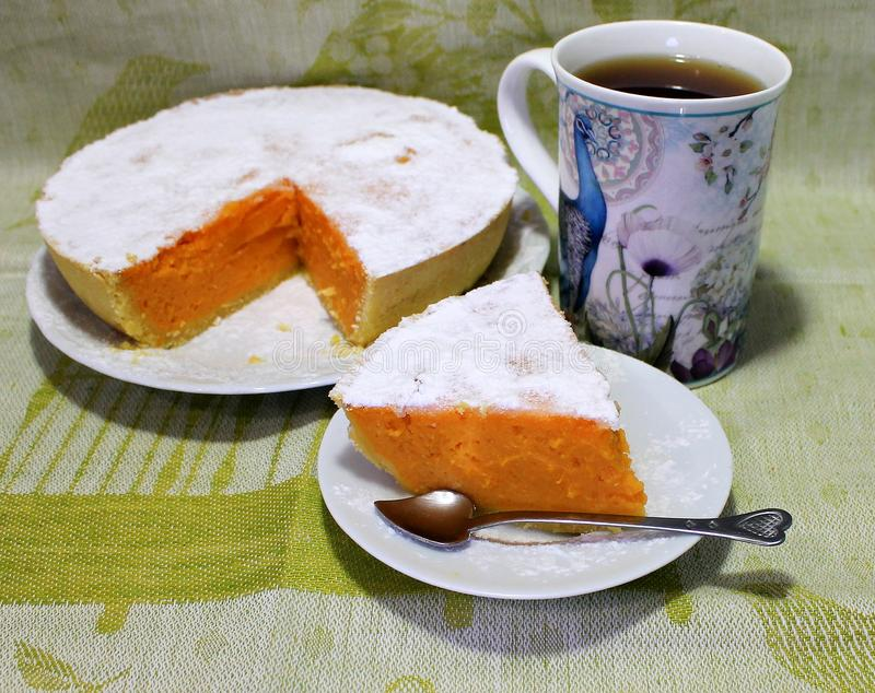 Pompoen en Shortcake-Pastei Klassiek Amerikaans Dessert royalty-vrije stock foto