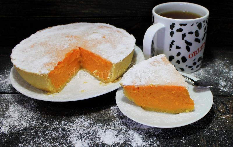 Pompoen en Shortcake-Pastei Klassiek Amerikaans Dessert stock afbeeldingen