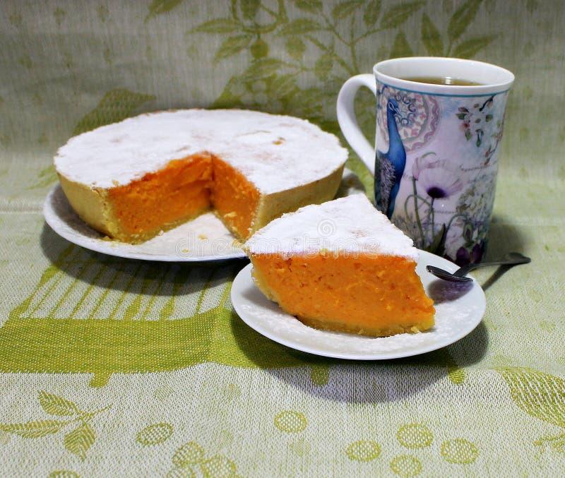 Pompoen en Shortcake-Pastei Klassiek Amerikaans Dessert stock foto