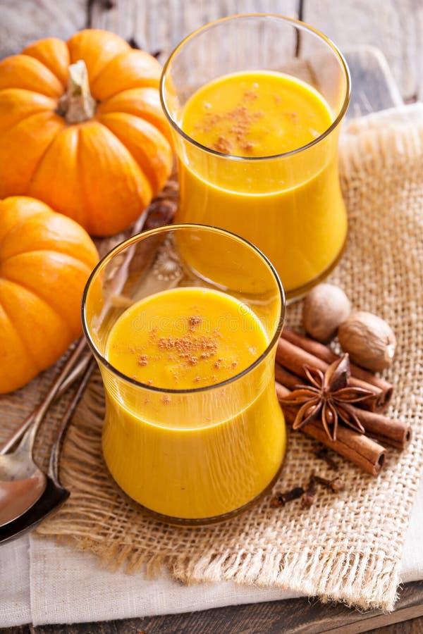 Pompoen en sinaasappel gekruide drank royalty-vrije stock afbeelding