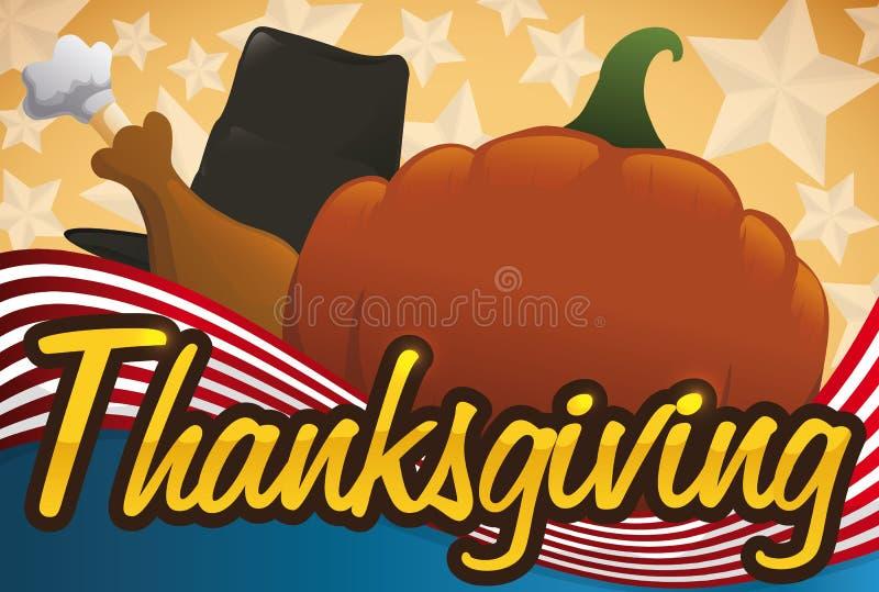 Pompoen, Pelgrimshoed en de Trommelstok van Turkije voor Amerikaans Thanksgiving day, Vectorillustratie vector illustratie