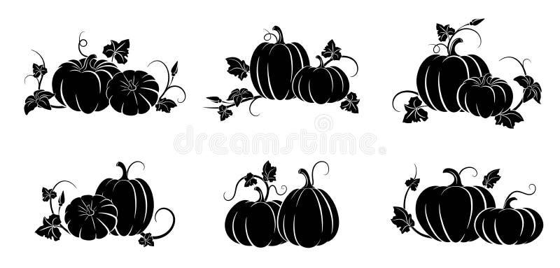 Pompoen Reeks silhouetten van verschillende pompoenen Vector illustratie vector illustratie