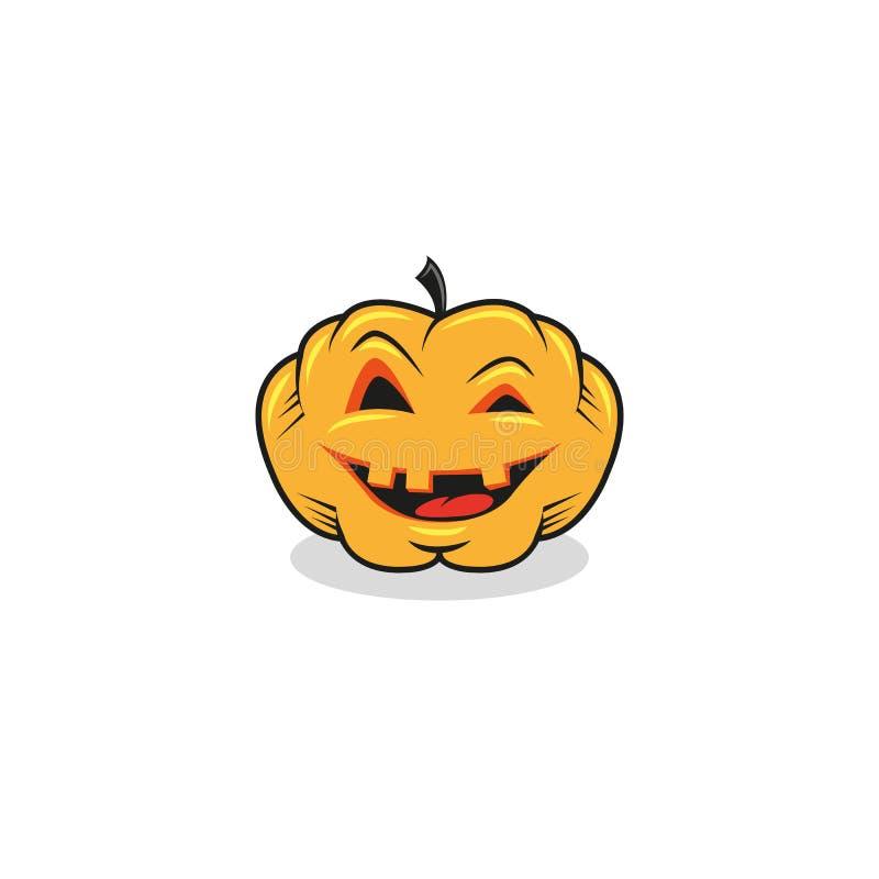 Pompoen van Halloween van de beeldverhaalillustratie de feestelijke op een witte achtergrond vector illustratie