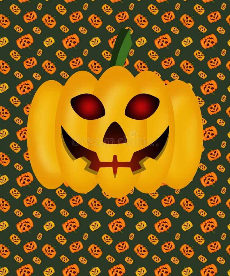Pompoen voor Halloween op een textuurachtergrond, gloeiende ogen, lamp Jack stock foto