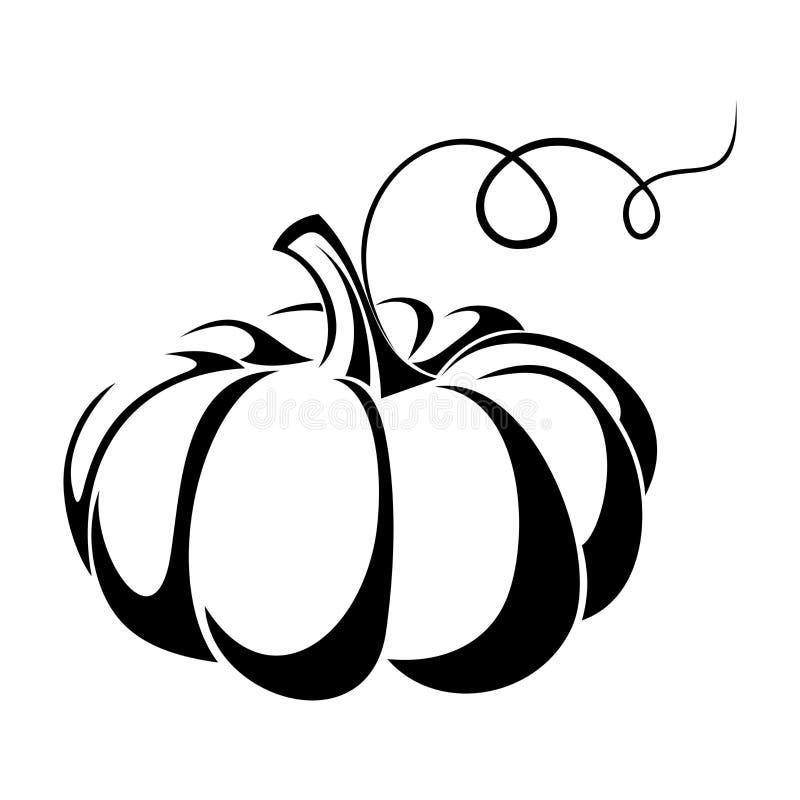 Pompoen. Zwart silhouet. vector illustratie