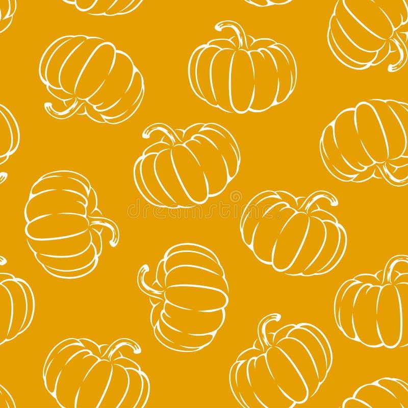 Pompoenen op oranje naadloos patroon als achtergrond Halloween-ontwerp royalty-vrije illustratie