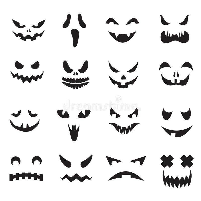 Pompoengezichten Halloween-het gezichtssilhouetten van de hefboomo lantaarn Monsterspook die enge ogen en mond geplaatste vectorp royalty-vrije illustratie