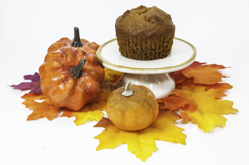 Pompoenmuffin met Dalingsdecor royalty-vrije stock afbeelding