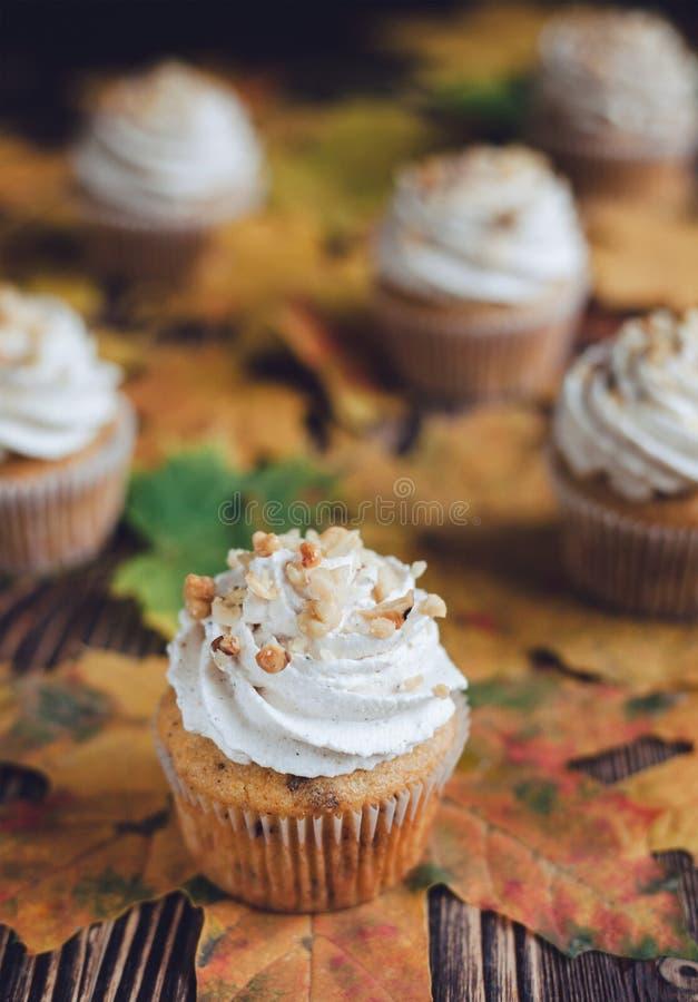 Pompoenokkernoot cupcakes royalty-vrije stock foto