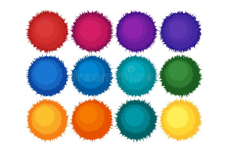 Pompon or furry balls icon. vector illustration
