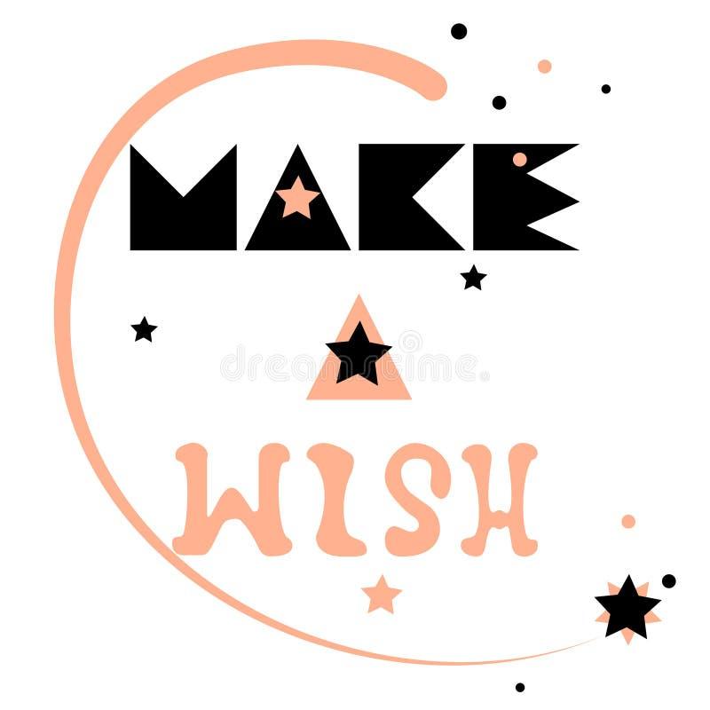 pomyśl życzenie Gwiazda spada w niebie, pisać list zwrot jest pociągany ręcznie w modnej kolor palecie ilustracji