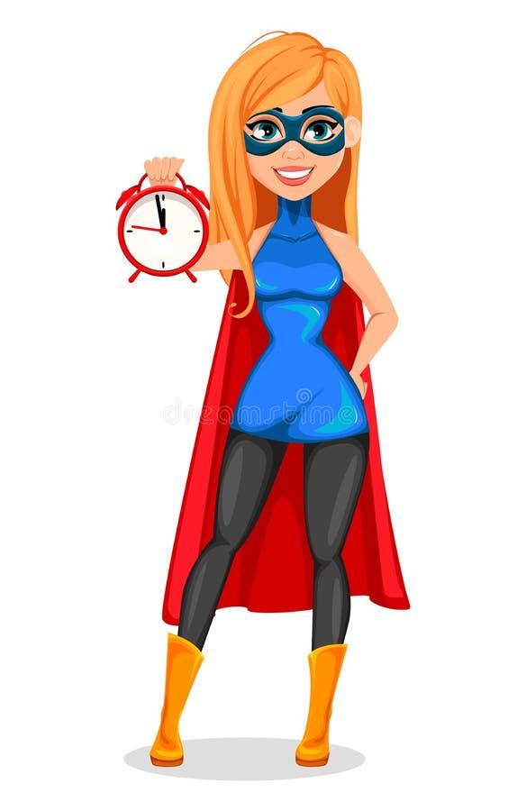 Pomyślna kobieta jest ubranym bohatera kostium ilustracji