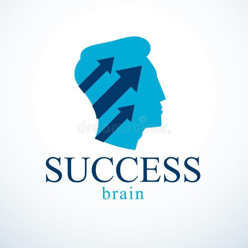 Pomyślnego mężczyzna wektorowy logo lub ikona projekt Mężczyzna głowy profil z strzała poruszający up ilustracja wektor