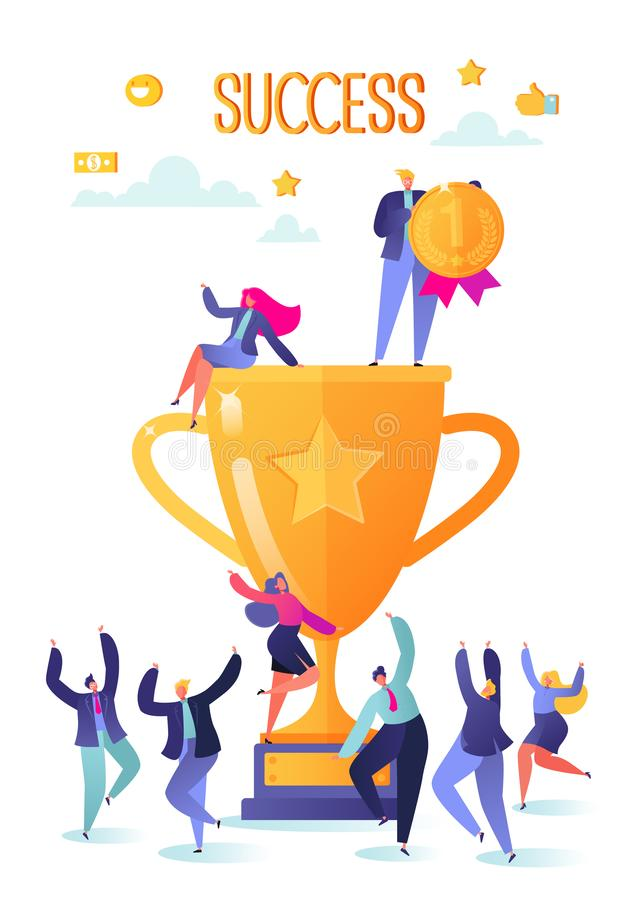 Pomyślni ludzie biznesu z nagrodą, złota czara Pojęcie biznesowa pomyślna praca zespołowa Mężczyźni i kobiety świętuje zwycięstwo ilustracja wektor