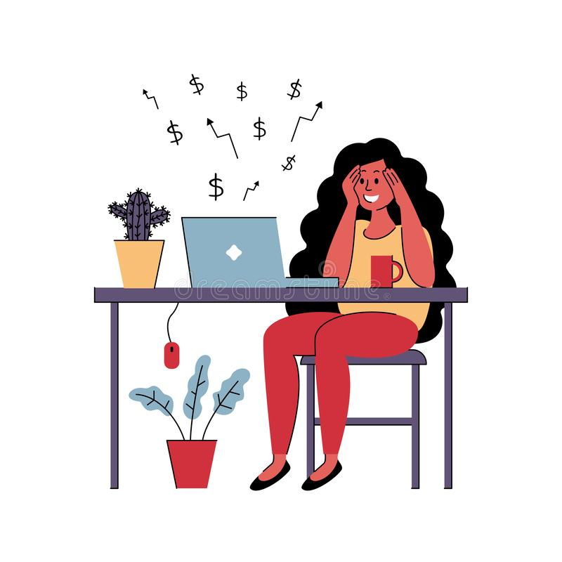 Pomyślny dziewczyny freelancer pracuje w domu również zwrócić corel ilustracji wektora royalty ilustracja