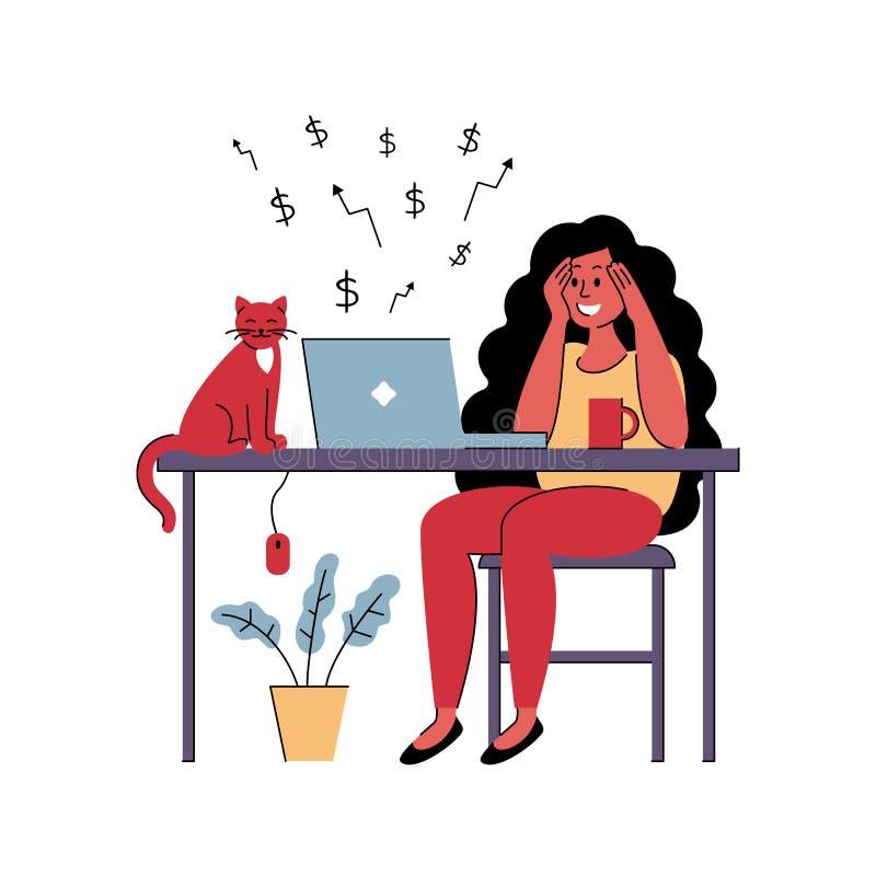 Pomyślny dziewczyny freelancer pracuje w domu również zwrócić corel ilustracji wektora ilustracji