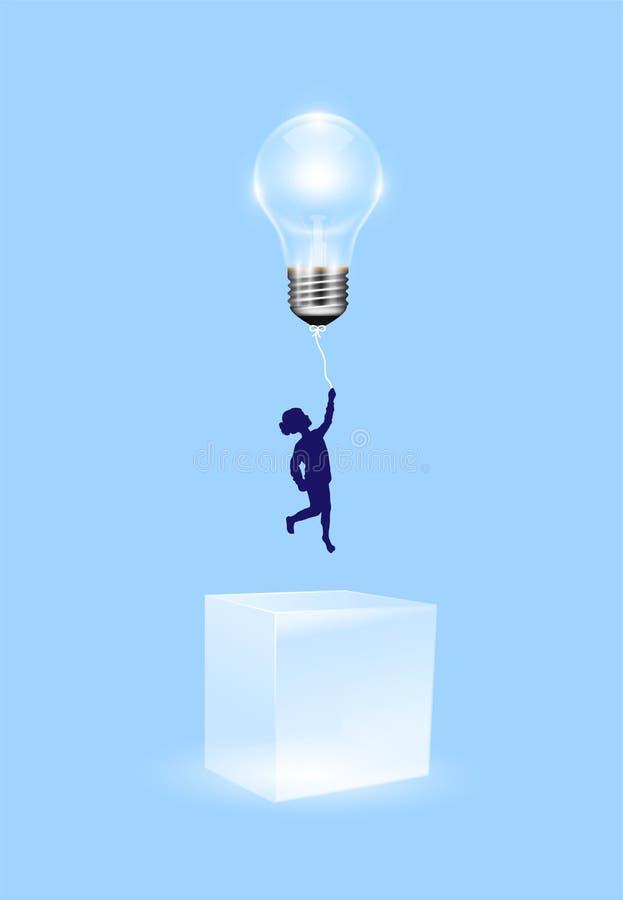 Pomyśl poza pudełkiem, znajdź rozwiązania, kreatywny pomysł, marzenie, sukces ilustracja wektor