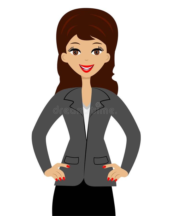 Pomyślna biznesowa kobieta na białym tle royalty ilustracja