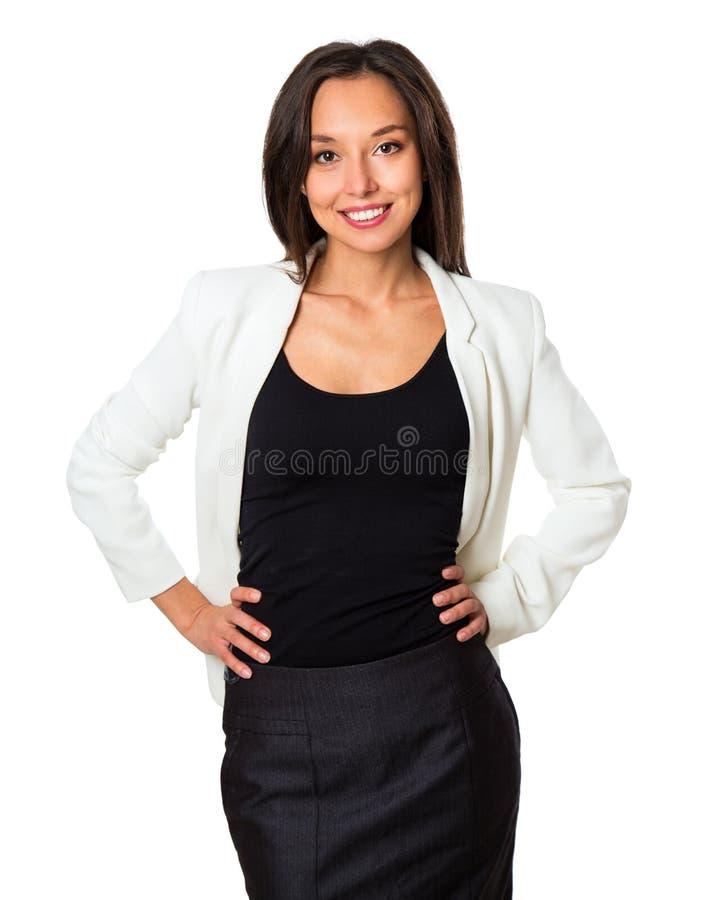 Pomyślna biznesowa kobieta patrzeje ufny i uśmiechnięty obrazy stock