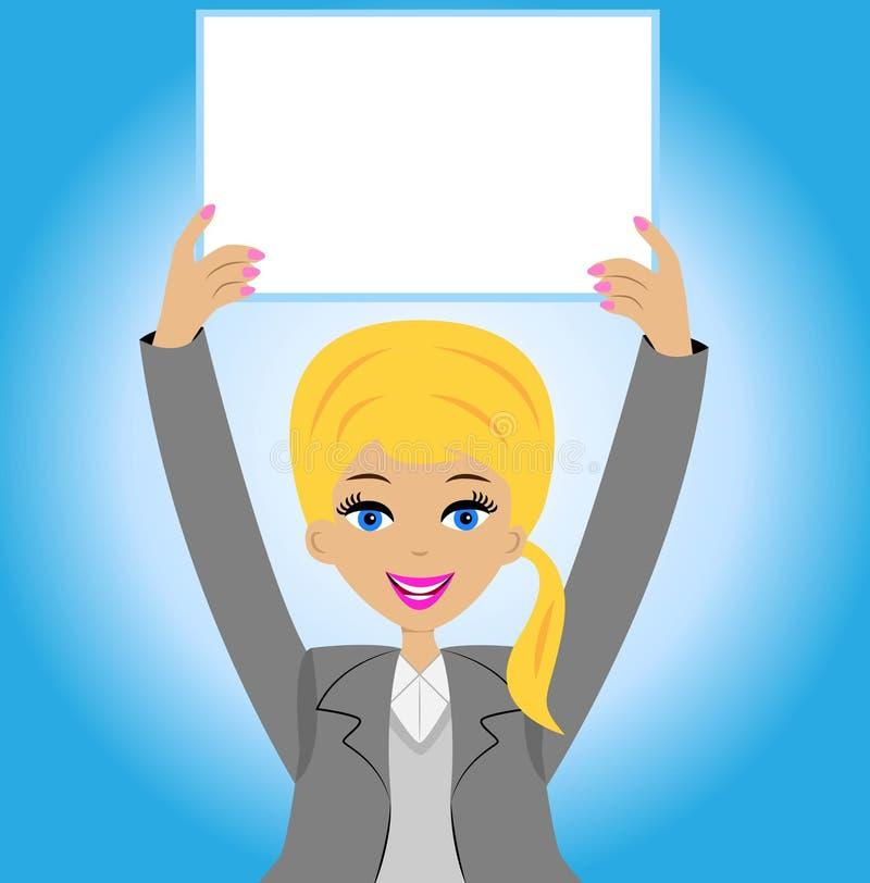 Pomyślna biznesowa kobieta z czystym stołem w rękach ilustracja wektor