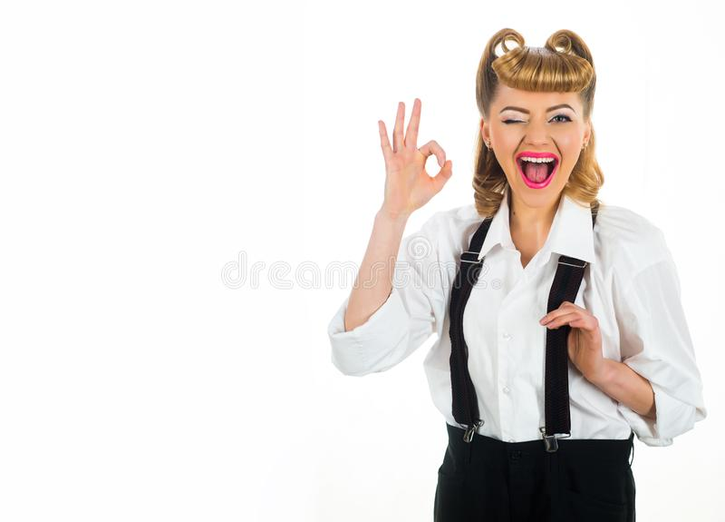 Pomyślna kobiety i kopii przestrzeń biznesowa szcz??liwa dama Znak sukces Ok gest szcz??liwy dziewczyna u?miech zdjęcie stock