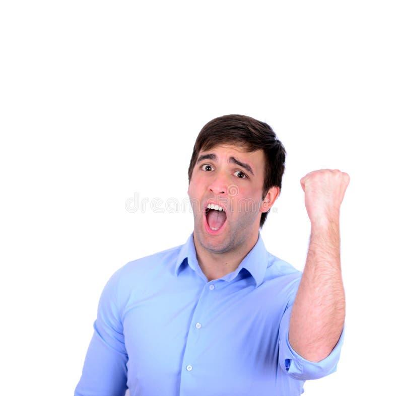 Pomyślna mężczyzna odświętność z rękami up i krzyczeć radości isol obrazy stock