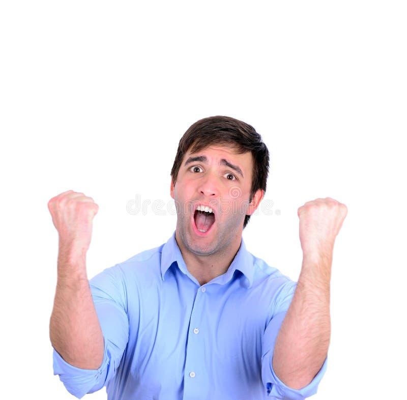 Pomyślna mężczyzna odświętność z rękami up i krzyczeć radości isol obrazy royalty free