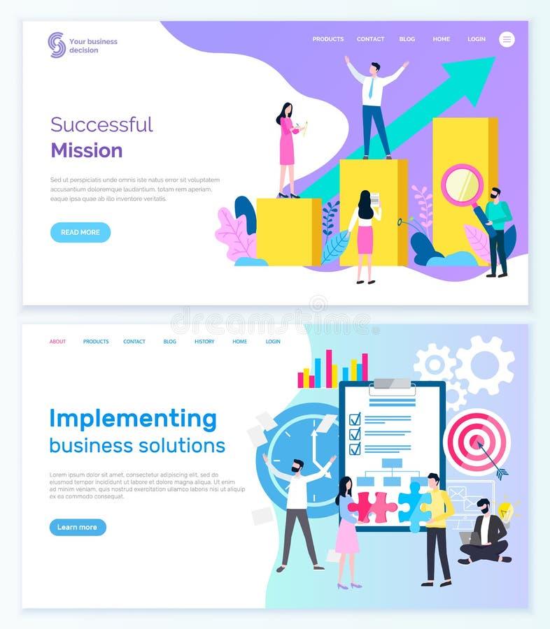 Pomyślna misja i wdrożenie sieci Web dla firm ilustracji