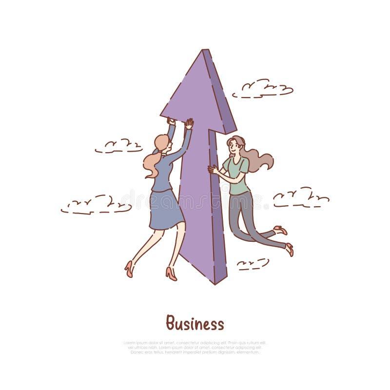 Pomyślna przedsiębiorczość, postęp, rozwój biznesu metafora, praca, promocja, coworking sztandar ilustracji