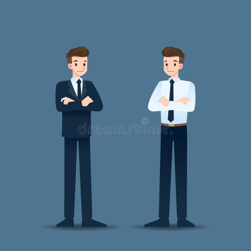 Pomyślna uśmiechnięta biznesmen pozycja i krzyżować ręki ilustracja wektor