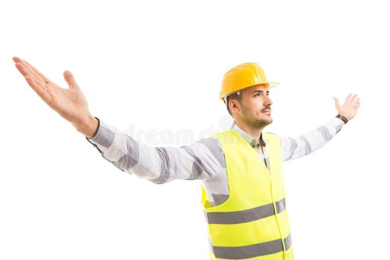 Pomyślne architekta podesłania ręki szeroko otwarty obrazy stock