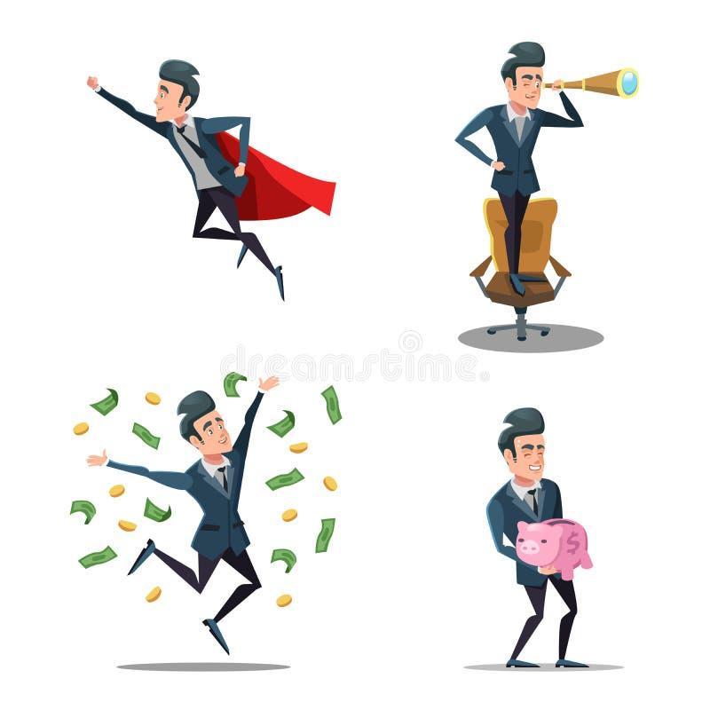 Pomyślne biznesmen kreskówki Super Biznesowego mężczyzna latanie Prosiątko bank ilustracji