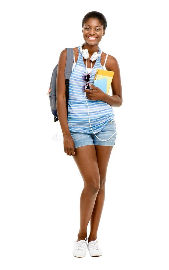 Pomyślnego amerykanina afrykańskiego pochodzenia studencka kobieta iść z powrotem szkoła f fotografia royalty free