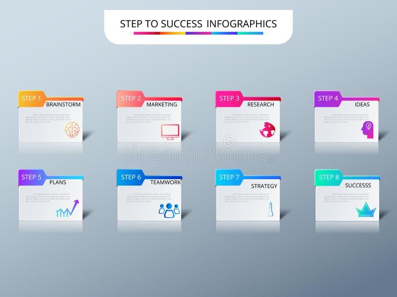 Pomyślnego biznesowego pojęcia infographic szablon Infographics z ikonami i elementami