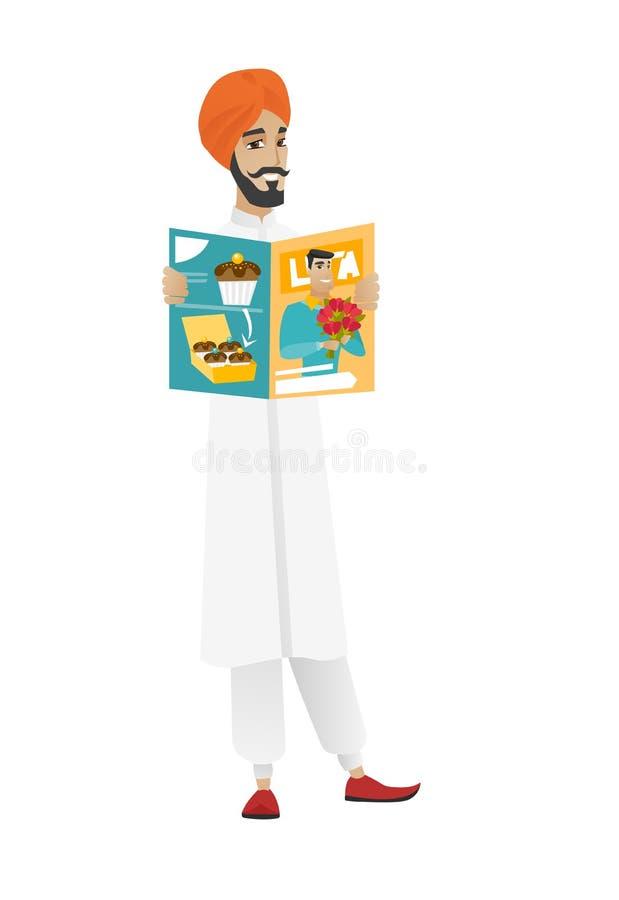 Pomyślnego hinduskiego biznesmena czytelniczy magazyn ilustracja wektor