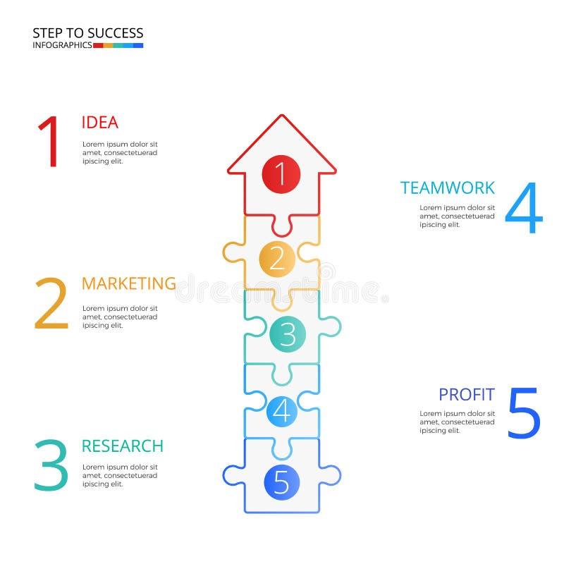 Pomyślnej biznesowej pojęcie strzałkowatej łamigłówki infographic szablon Infographics z ikonami i elementami może używać dla obi ilustracji