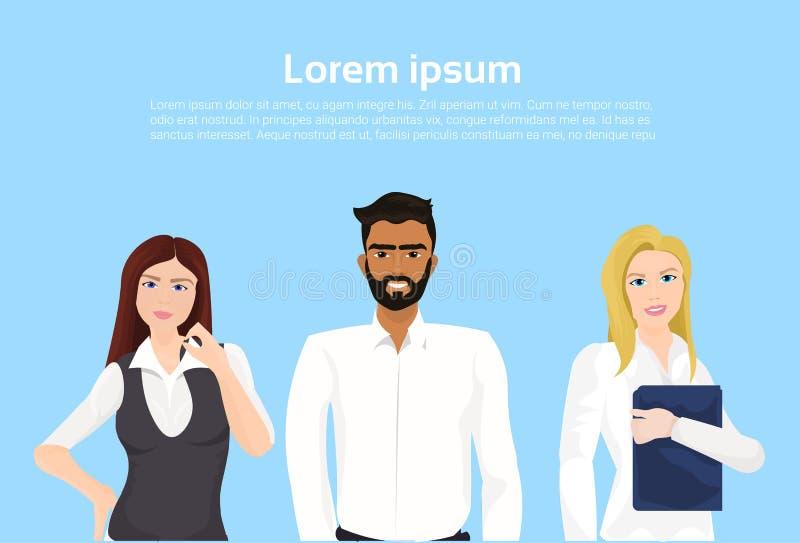 Pomyślni ludzie biznesu Ufnego biznesmena I bizneswoman Nad Backgorund Z kopii przestrzenią ilustracja wektor