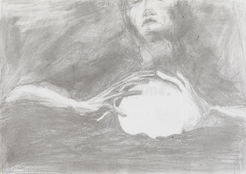 Pomyślność narrator, ołówkowy rysunek ilustracji