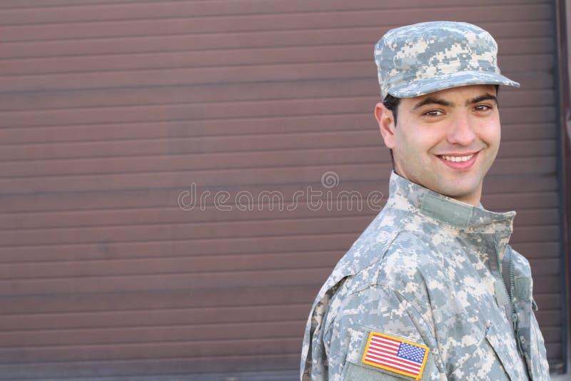 Pomyślny Amerykański żołnierz zamknięty w górę obrazy royalty free