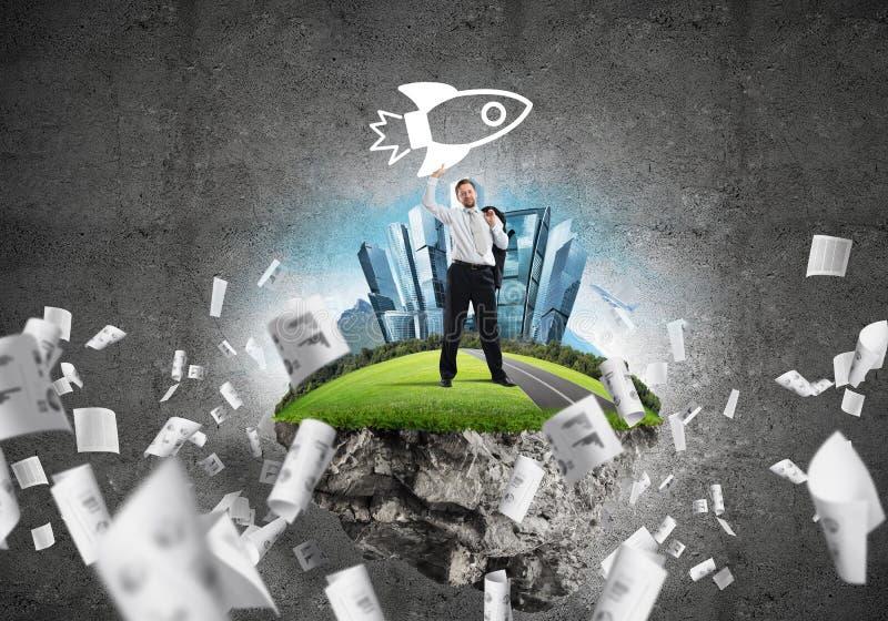 Pomyślny biznesmen i rozwój obraz royalty free