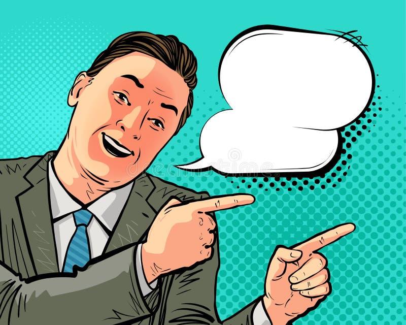 Pomyślny biznesmen lub szczęśliwy mężczyzna w garniturze wskazuje kierunek Wektorowa ilustracja w wystrzał sztuki retro komiczce ilustracja wektor