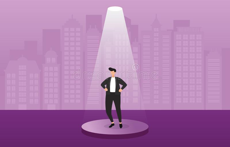 Pomyślny biznesmen Ufny na podium Pod światło reflektorów pojęcia Biznesową ilustracją royalty ilustracja