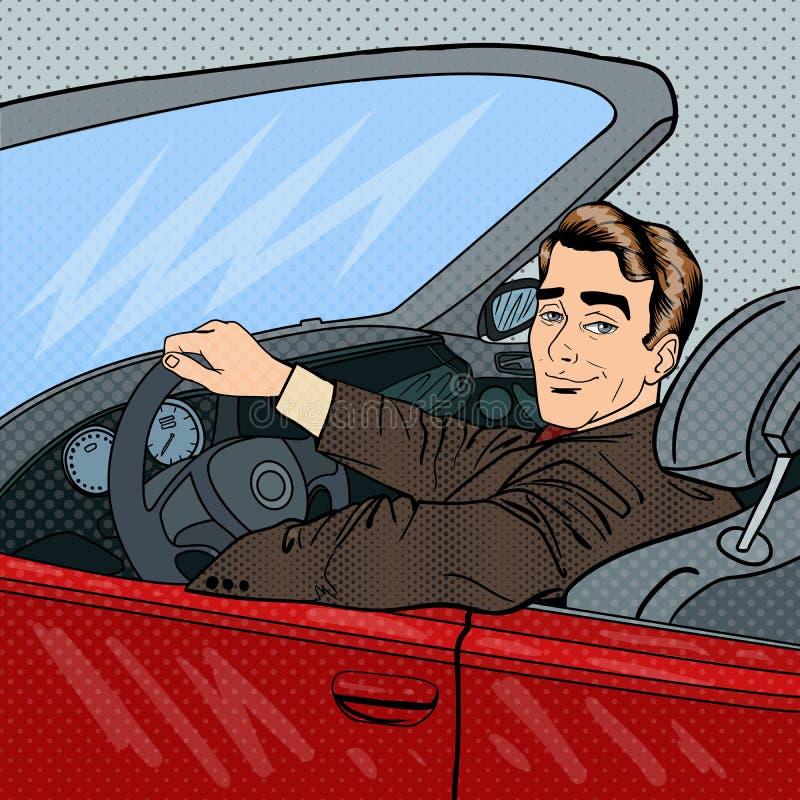 Pomyślny biznesmen w Luksusowym samochodzie Mężczyzna Jedzie kabriolet ilustracja wektor
