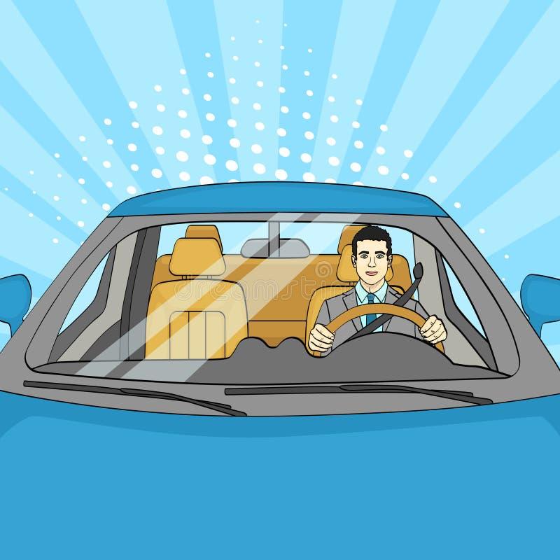 Pomyślny biznesmen w Luksusowym samochodzie Mężczyzna Jedzie kabriolet Wystrzał sztuka wektor ilustracji