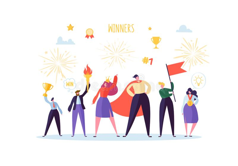 Pomyślny biznesmen z nagrodą Biznesowego sukcesu pracy zespołowej pojęcie Kierownik z Wygraną trofeum filiżanką 3d lidera mężczyz royalty ilustracja
